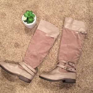 Knee High Tan Fur Lined Boots